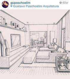 Sala de Estar - desenho do Arquiteto Gustavo Paschoalim - Fonte Instagram