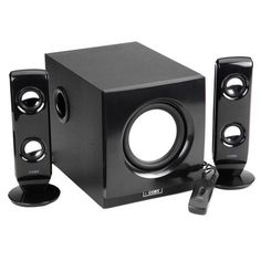 Coby CSMP77 75W High-Performance Speaker System <~ These things BUMP! Quality sound but so small!
