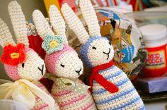 Love the trio of crochet bunnies. >> Greedy For Colour: A Few More Bunnies.