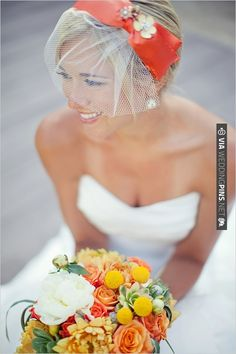 Orange hair piece. So incredibly bright and fun. | CHECK OUT MORE IDEAS AT WEDDINGPINS.NET | #weddinghair