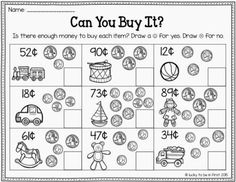 Grade Money Worksheets – Best Coloring Pages For Kids Earning money has long been associated with traditional ways in … Math Classroom, Kindergarten Math, Teaching Math, Teaching Tips, Preschool, Classroom Activities, Money Activities, Math Resources, 2nd Grade Activities