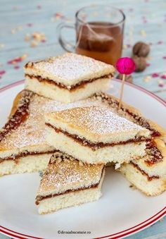 PRAJITURA TURNATA CU GEM SI NUCI | Diva in bucatarie Romanian Desserts, Romanian Food, Cooking Bread, Fudge, Bakery, Sweet Treats, Deserts, Food And Drink, Sweets