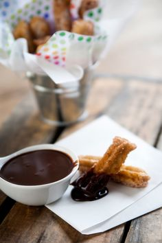 Churros with a decadent and exotic Mexican chocolate dipping sauce with or without a splash of Kahlua.