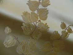 """100% SILK LAMPAS LILY OF THE VALLEY """"BONE"""" GOLD"""