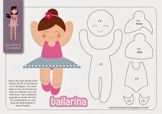 Amigas do Feltro! - Pattern for felt Felt Patterns, Applique Patterns, Stuffed Toys Patterns, Craft Patterns, Felt Diy, Felt Crafts, Paper Crafts, Felt Dolls, Paper Dolls