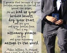 Missionary Quote Elder Jeffrey Holland He will Bind up your broken hearts, dry tears LDS Mormon Inst Missionary Mom, Lds Missionary Quotes, Missionary Packages, Lds Missionaries, Mission Quotes, Holland Quotes, Elder Holland, Believe, Lds Mormon