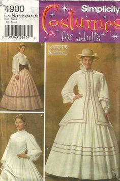 Simplicity 4900 Andrea Schewe Cold Mountain Civil War Misses Day Dress Pattern Womens Sewing Pattern  by patterngate.com