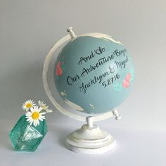 """Custom Wedding or Nursery Hand Painted Floral  8"""" diameter World Globe with Guestbook Option (13 inch available through a custom listing)"""