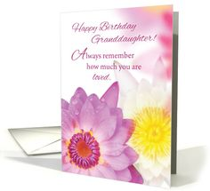 Granddaughter Birthday, Pink, Yellow Flowers, Religious card (1382656)