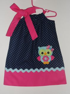 Adorable Owl birthday Pillowcase dress. $28.00, via Etsy.