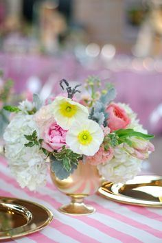 White poppies in a gold vessel & Pink and white striped linen | Bows and Arrows