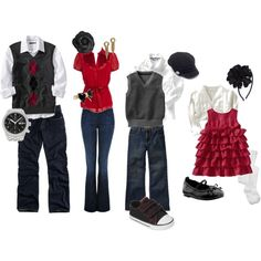 """What to wear family portraits - Christmas"" or NCSU family of fans. I love this for us, but need to add a couple more kid outfits. Still love anything with jeans! Family Portrait Outfits, Family Picture Outfits, Family Portraits, Family Photos, Kid Outfits, What To Wear Fall, How To Wear, Christmas Portraits, Christmas Outfits"