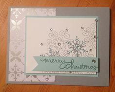 Hand made Stampin Up Card, perfect for Christmas Holiday cards, Endless Wishes stamp set and All is Calm Specialty Designer Series Paper Snowflake Christmas Card Crafts, Merry Christmas Card, Christmas Cards To Make, Xmas Cards, Christmas Greetings, Holiday Cards, Christmas 2014, Snowflake Cards, Snowflakes