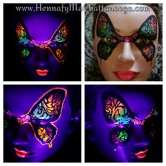 Butterfly UV face painting. UV colors glow under black light