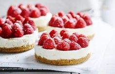White chocolate and raspberry mini-cheesecake Mini Desserts, Chocolate Cheesecake Recipes, Easy Cheesecake Recipes, Pumpkin Cheesecake, Easy Desserts, Homemade Cheesecake, Flan, Best Vegan Chocolate, White Chocolate