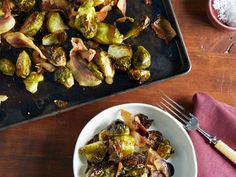 Balsamic-Roasted Brussels Sprouts : Ina uses pancetta and balsamic vinegar for subtly sweet flavor in her roasted Brussels sprouts recipe, transforming a basic side into a sophisticated, indulgent treat.