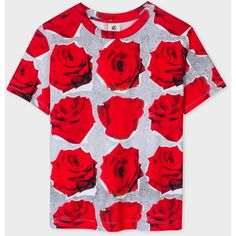 Paul Smith Women's Grey And Red 'Rose' Print Cotton T-Shirt ($150) ❤ liked on Polyvore featuring tops, t-shirts, boxy tee, short sleeve tee, red t shirt, gray t shirt and grey top