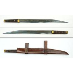 Seax sword. Seax or sax, deluxe edition decorated by gold-early medieval sword with sheath and display box. Reproduction of Seax of Begnoth was found in the River Thames in 1857. The original weapon is exhibited in British museum.