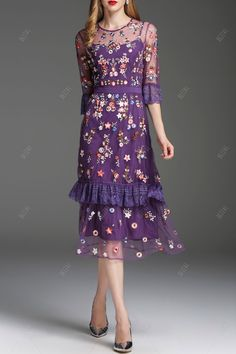 Shop zyym purple embroidered see through midi dress here, find your midi  dresses at dezzal, huge selection and best quality.