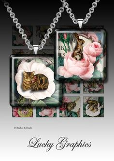 Digital collage sheet 1,5 inch squares for Resin Jewelry Printable Download Images Set 67