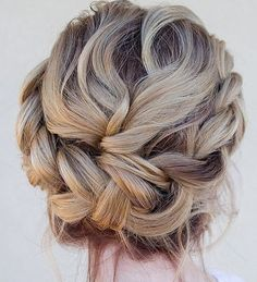 A beautiful messy update on the crown braid updo