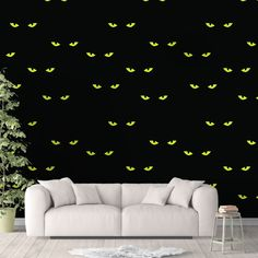 Spooky Cat Animal Wallpaper, Black Cat Wall Cling, Scary Wall Decal, Kitty Peel and Stick, Halloween Wall Decor, Cat Eyes Pattern, Horror Decor - Smooth Wall Decal / 1 roll: 24W x 120H