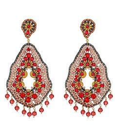 Miguel Ases Cherry Quartz Large-Drop Earrings