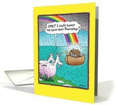 Unicorns Miss Ark Funny Birthday card (1090152) by Nobleworks