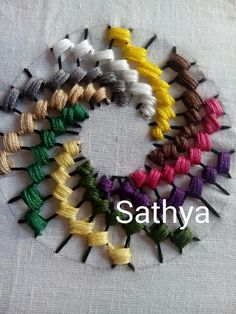 Embroidery colour wheel stitch