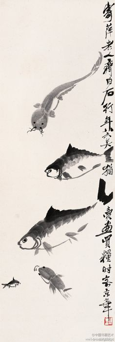 """See modern painter Qi Baishi paintings Picasso said: """"Chinese painting really amazing. Chai draw water fish, not a little color, a line to draw water, but people saw the river, smell the fragrance of the water."""""""