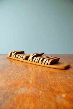 Hardwood 3-D Name Plate - Vintage Desk Accessory