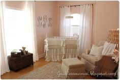LOVE this little girl nursery!  She gives paint color, where she bought crib bedding, tutorial how to make crystal mobile etc. perfect.