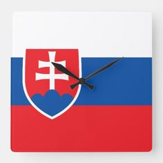 Shop Slovakia Flag Square Wall Clock created by FlagGift. Slovakia Flag, Political Events, National Flag, Hand Coloring, Flags, Banner, Clock, Display, Wall Art