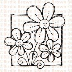 Digital stamp -- Doodled Flower. $2.50, via Etsy.