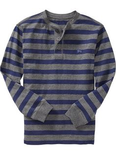 Boys Striped Slub-Knit Henleys