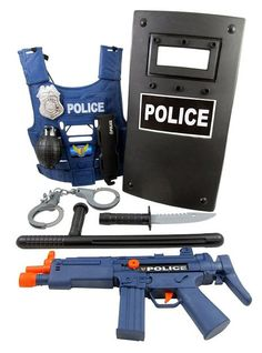 Police Force Role Play Set for kids w/ Combat Vest, Riot Shield, Badge…