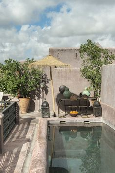 Morocco, The swimmingpool of Riad Dar Darma in Marrakech Terrace Garden, Garden Pool, Outdoor Spaces, Outdoor Living, Living Pool, Riad Marrakech, Small Pools, Plunge Pool, Pergola