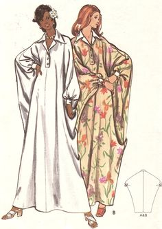 Vintage 1970s Misses Caftan Size Large 16-18 Butterick 3134 Sewing Pattern Dress 70s. $12.00, via Etsy.
