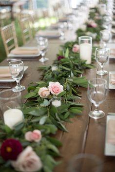 Farm table wedding floral garland   Stellaluna Events with David Tutera Photography