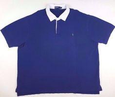 POLO Ralph LAUREN Big 4XL Polo RUGBY Shirt BLUE Mens SIZE Sz GREEN Pony LOGO Man…