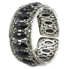 Black Wide Rhinestone Cuff Bangle Bracelet