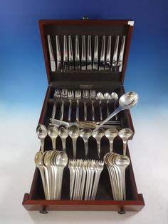 Caravel by Georg Jensen Sterling Silver Flatware Set Service 121 Pieces Modern & Chrysanthemum by tiffany sterling silver dinner size flatware set ...