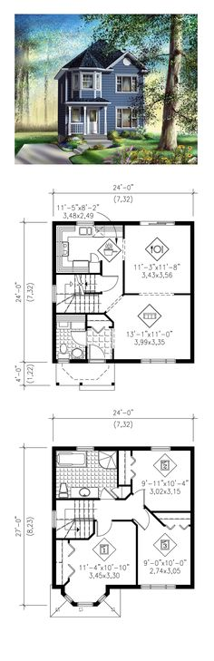 Victorian House Plan 49793 | Total Living Area: 1172 sq. ft., 3 bedrooms and 1.5 bathrooms. #victorianhome
