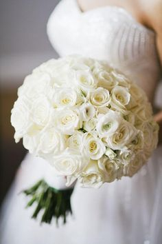 All white roses bouquet. White Rose Bouquet, Rose Bridal Bouquet, Bridal Flowers, White Roses, Wedding Reception Flowers, White Wedding Bouquets, Bride Bouquets, Wedding Dress, All White Wedding