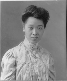 """Kang Tongbi (Kang Tung Pih) 康同璧, circa 1905. """"The daughter of a Chinese intellectual, Tongbi was the first Asian student at Barnard.  After the fall of the Qing dynasty in 1911,  Tongbi returned to China and became involved in feminist causes. Unlike many other women of her class, Tongbi's feet had never been bound as her parents objected to the practice.  In Shanghai, Tongbi co-founded a Tianzuhui (Natural Feet Society) with a female doctor."""" ... [cont'd]"""