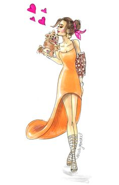 A Forever kind of love -- This may be what you need right now! http://blog.emilybrickel.com/a-forever-kind-of-love/#sthash.ofxUWP3K.dpbs  dog, pomeranian, love, dog lover, orange dress, fashion, fashion illustration, by Emily Brickel