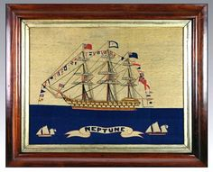 Sailor's Woolwork Of Hms Neptune Fully Dressed With Sailors On The Yardarms Royal Navy Frigates, Seashell Display, Vintage Sailor, Merchant Navy, Rare Images, Royal Marines, Tug Boats, Navy Ships, Sailors