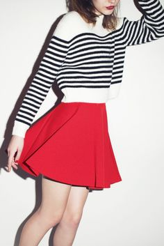 White and Black Striped Cropped Sweater $42