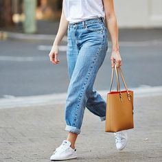 #outfitsinspiration:White Tee + High Waisted Vintage Jeans + Stan Smith + Oroton Estate Tote  image via brooketestoni.com