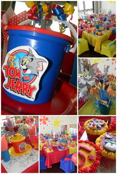 Tom and Jerry Birthday Party Centerpieces.  | Party Ideas